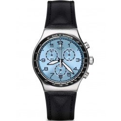 Swatch Mens Conduit Chronograph Black Leather Strap Watch YVS421
