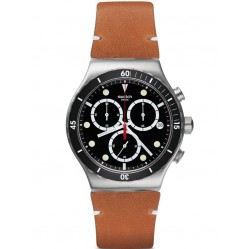 Swatch Mens Disorderly Brown Leather Strap Watch YVS424