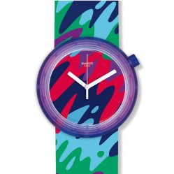 Swatch Popthusiasm Multi-Coloured Strap Watch PNP101