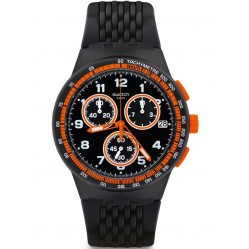 Swatch Mens Nerolino Chronograph Black Strap Watch SUSB408