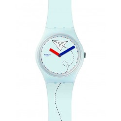 Swatch Mens Par Avion White Strap Watch GS151