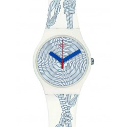 Swatch Mens Cordage White Strap Watch SUOW139