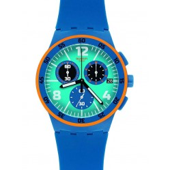 Swatch Mens Capanno Blue Chronograph Strap Watch SUSN413