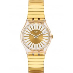 Swatch Mens Rayon De Soleil Gold Plated Bracelet Watch GE248/B