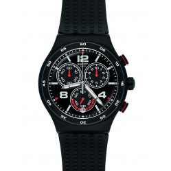 Swatch Mens Destination Shanghai Black Chronograph Strap Watch YVB404