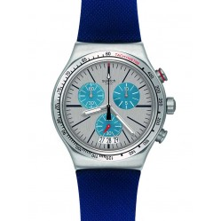 Swatch Mens Blau Me On Blue Chronograph Strap Watch YVS435