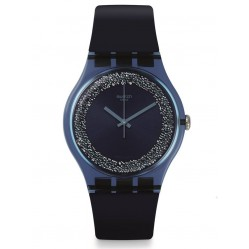 Swatch Sparkles Blue Rubber Strap Watch SUON134