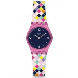 Swatch Squarlor Blue Dial Multicolour Rubber Strap Watch LP153