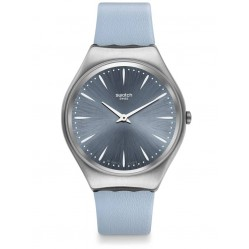 Swatch Skindream Stainless Steel Light Blue Leather Strap Watch SYXS118