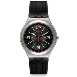 Swatch Black Grid Stainless Steel Black Rubber Strap Watch YWS444