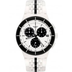 Swatch Piste Noire White Rubber Strap Watch SUSW407