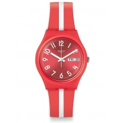 Swatch Sanguinello Red and White Stripe Rubber Strap Watch GR709