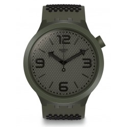Swatch BBBubbles Khaki Rubber Strap Watch SO27M100