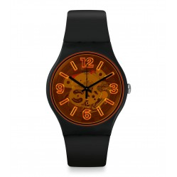 Swatch Unisex OrangeBoost Black Rubber Strap Watch SUOB164