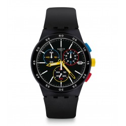 Swatch Unisex Black-One Chronograpgh Black Rubber Strap Watch SUSB416