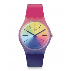 Swatch Unisex Multiboost Multicoloured Rubber Strap Watch SUOK143
