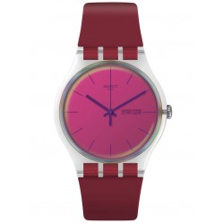 Swatch Unisex Polared Red Strap Watch SUOK717