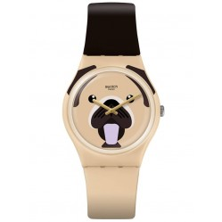 Swatch Unisex Carlito the Pug Rubber Strap Watch GT109