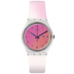 Swatch Unisex Ultrafushia Pink & White Rubber Strap Watch GE719