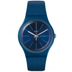 Swatch Unisex Wave Path Blue Rubber Strap Watch SUON713
