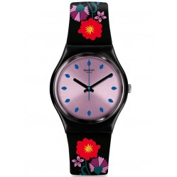 Swatch Unisex Coquelicotte Black Floral Rubber Strap Watch GB319