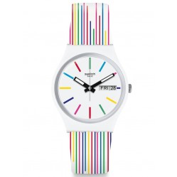 Swatch Unisex White Samba Multicoloured Stripes Rubber Strap Watch GW712