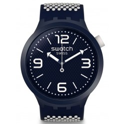 Swatch Unisex BBCream Blue & White Rubber Strap Watch SO27N101