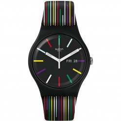 Swatch Nuit D'Ete Multicolor Black Rubber Strap Watch SUOB729