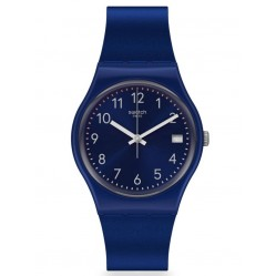 Swatch Silver In Blue Navy Rubber Strap Watch GN416