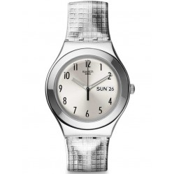 Swatch Ladies Moon Plaided Strap Watch YGS773