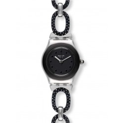 Swatch Ladies Black Glitter Watch YSS293G