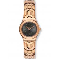 Swatch Ladies Alacarla Rose Gold Plated Bracelet Watch YSG145A