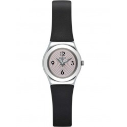 Swatch Ladies Aim At Me Black Leather Strap Watch YSS301