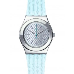 Swatch Ladies Mint Halo Blue Strap Watch YLS193