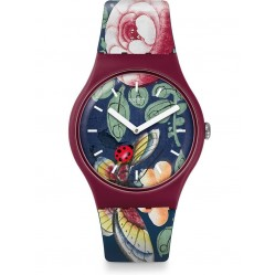 Swatch Ladies Lady Buzz Floral Rubber Strap Watch SUOR113