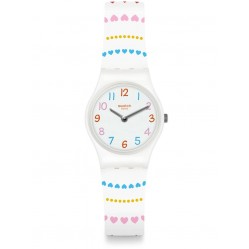Swatch Herzlich Multicolour Heart White Rubber Strap Watch LW164
