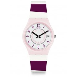 Swatch Miss Yacht Purple And Pink Stripe White Rubber Strap Watch GP402