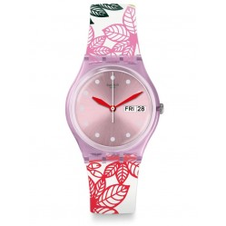 Swatch Summer Leaves Multicolor Rubber Strap Watch GP702