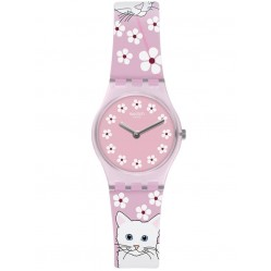 Swatch Ladies Minou Minou Cats Rubber Strap Watch LP156