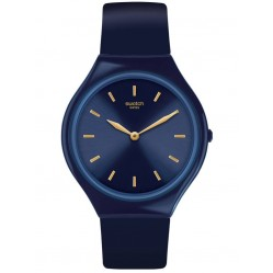 Swatch Unisex Skinazuli Navy Blue Rubber Strap Watch SVON104