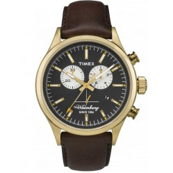 Timex Waterbury Mens Gold Plated Chronograph Strap Watch TW2P75300