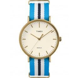 Timex Weekender Ladies Gold Plated Fabric Strap Watch TW2P91000