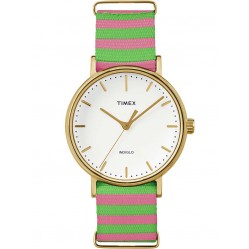 Timex Weekender Ladies Gold Plated Fabric Strap Watch TW2P91800