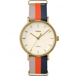 Timex Weekender Ladies Gold Plated Fabric Strap Watch TW2P91600