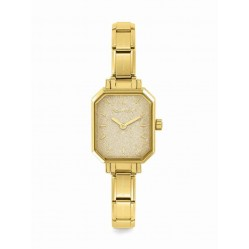 Nomination CLASSIC Paris Gold Glitter Rectangular Dial Gold-Plated Bracelet Watch 076032/026