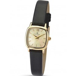 Accurist Ladies Gold Plated Mother Of Pearl Dial Black Strap Watch 8101