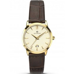 Accurist Ladies Gold Plated Brown Strap Watch 8133