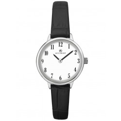 Accurist Ladies Stainless Steel White Round Dial Black Leather Strap Watch 8263
