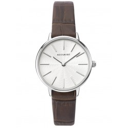 Accurist Ladies Contemporary White Patterned Dial Brown Leather Strap Watch 8320