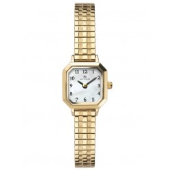 Accurist Ladies Gold Plated Octagon White Dial Expandable Bracelet Watch 8270
